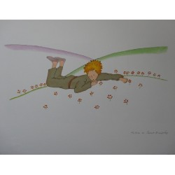 SAINT EXUPERY - Lithograph : Little Prince among the flowers