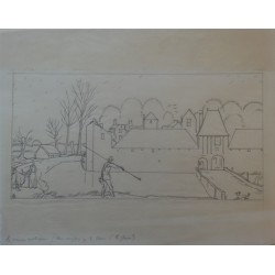 Jean-Emile LABOUREUR - Original drawing : Country manor