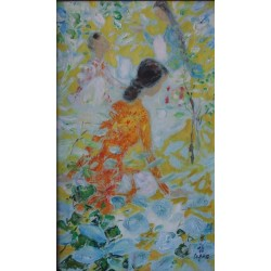 LE PHO - Oil on canvas : Three women in a garden