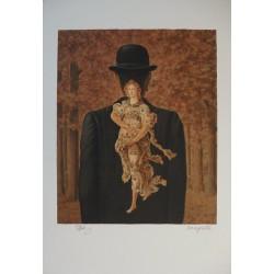 René Magritte - lithograph : Le Bouquet tout fait