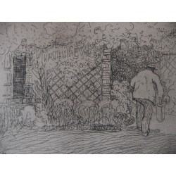 Jean-Émile LABOUREUR / Watering can (artist's father in the garden) - Etching