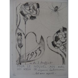 Jean-Émile LABOUREUR : Spider with flowers - Engraving