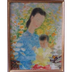 Le Pho : Oil on canvas - Woman and child