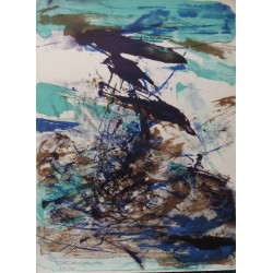 Zao Wou-Ki : Handsigned lithograph - Composition 1967